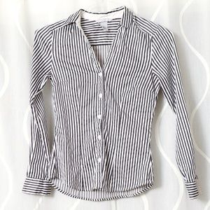 H&M Fitted Stretchy Sexy Stripe Work Blouse